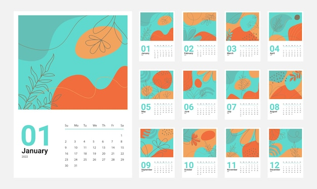 Kalendervorlage 2022, set 2022, wandkalenderdesign, planer, wochenstart am sonntag.