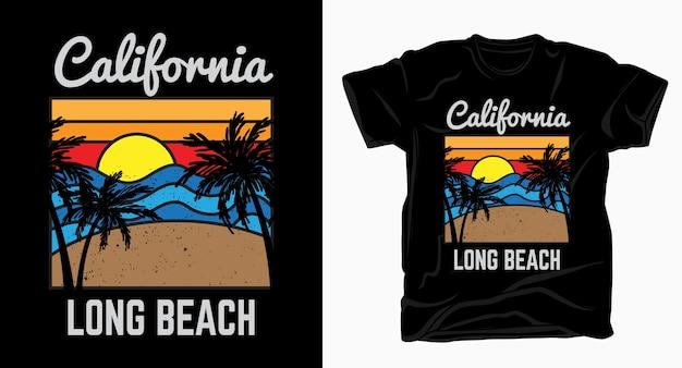 Kalifornien langer strand mit strand, palme und sonnenuntergang t-shirt