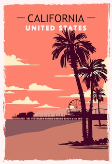 Kalifornien retro poster. usa kalifornien reiseillustration.
