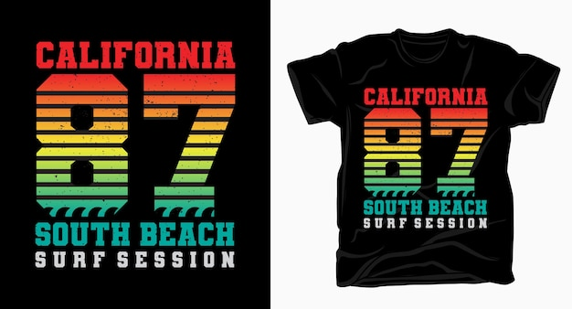 Kalifornien siebenundachtzig south beach vintage typografie design t-shirt
