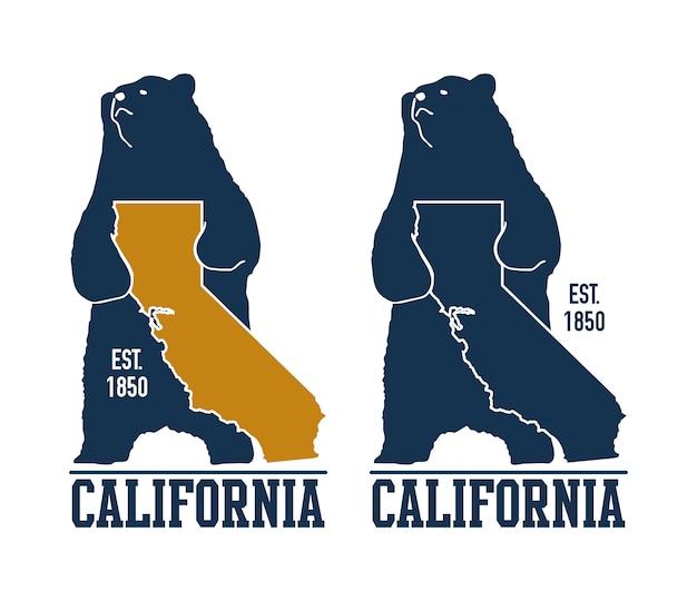 Kalifornien-t-shirt mit grizzlybären.