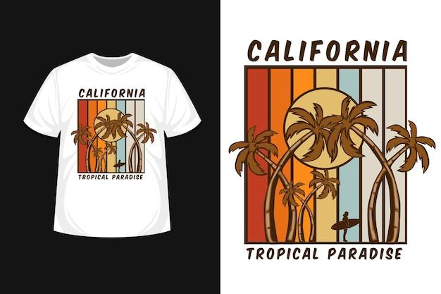 Kalifornien tropisches paradies t-shirt design schöner strand Premium Vektoren