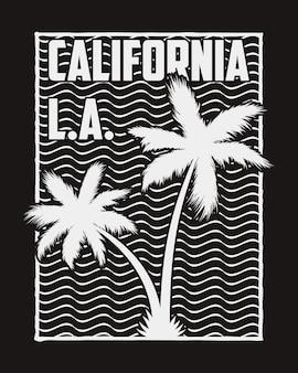 Kalifornien-typografie für design-kleidung mit silhouette-palmen und wellen grafiken für t-shirt