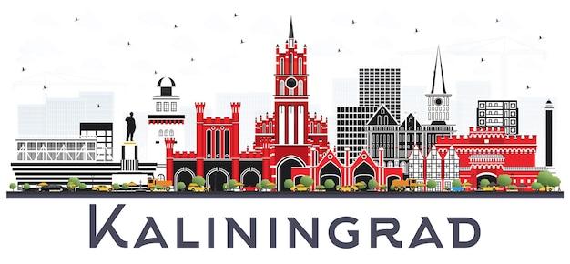 Kaliningrad russland stadt skyline mit farbgebäuden auf weiß isoliert. kaliningrader stadtbild mit sehenswürdigkeiten.