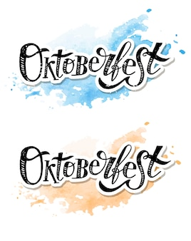 Kalligraphie-bürsten-text-feiertags-vektor-aufkleber oktoberfest-beschriftung