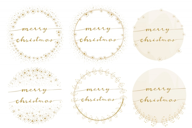 Kalligraphie der frohen weihnachten auf goldener löwenzahnkranzsammlung