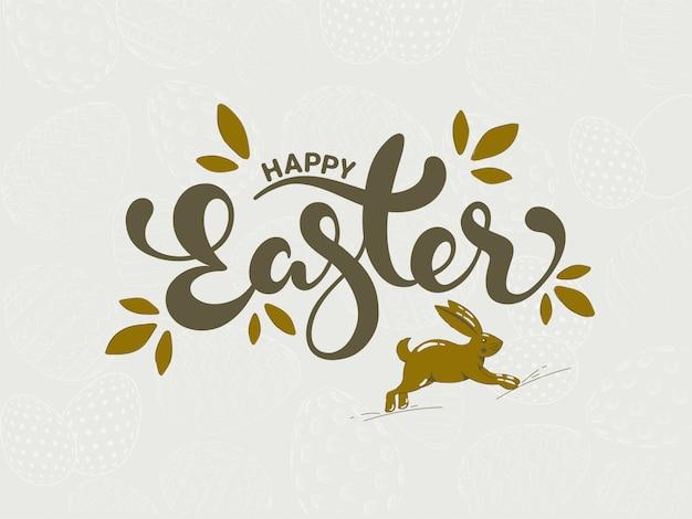 Kalligraphie-frohe ostern-text mit laufendem kaninchen in olivgrüner farbe auf weiß