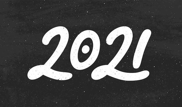 Kalligraphie für 2021 in hand gezeichnet