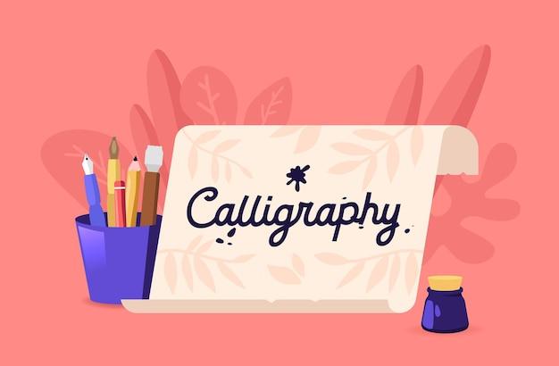 Kalligraphie oder beschriftungsillustration. scroll- und professionelle instrumente und werkzeuge, stifte, federn und tintenfass zum schreiben