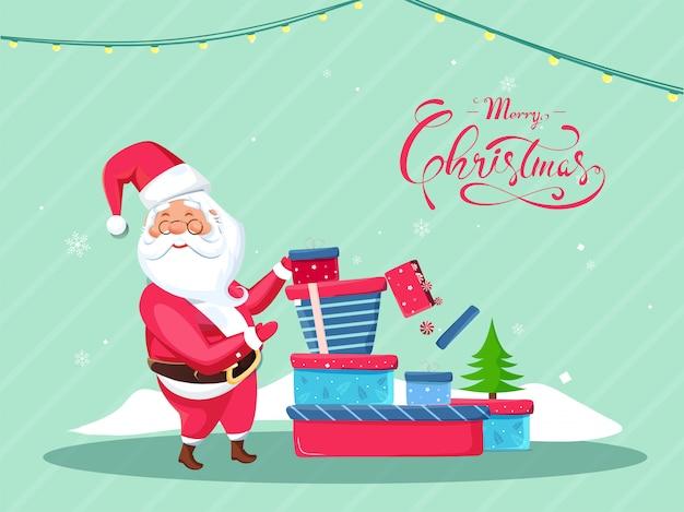 Kalligraphie von frohen weihnachten mit weihnachtsmann, der geschenkboxen und weihnachtsbaum auf grünem streifen für feier darstellt.