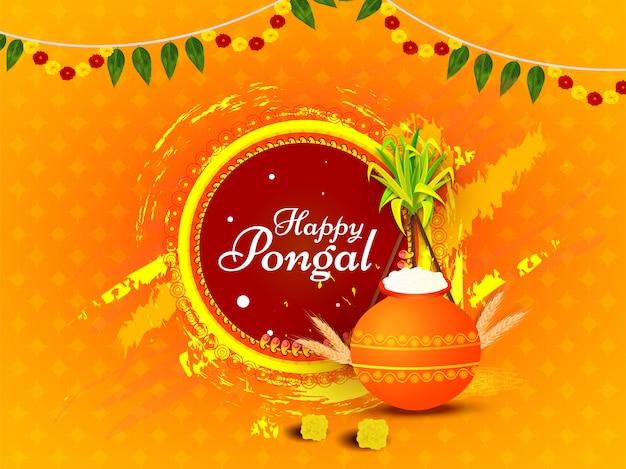 Kalligraphie von glücklichem pongal mit reisschlammtopf, weizenähre, zuckerrohr und bürstenanschlag-schmutzeffekt auf orange.