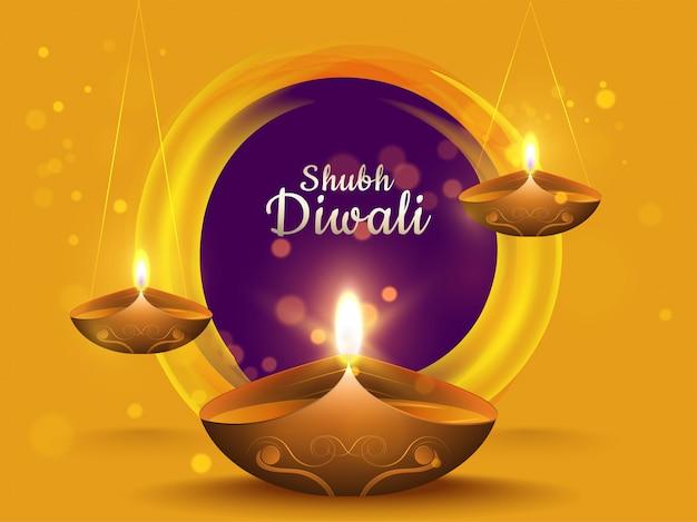 Kalligraphie von shubh diwali im kreisförmigen purpurroten bokeh effekt auf gelben hintergrund