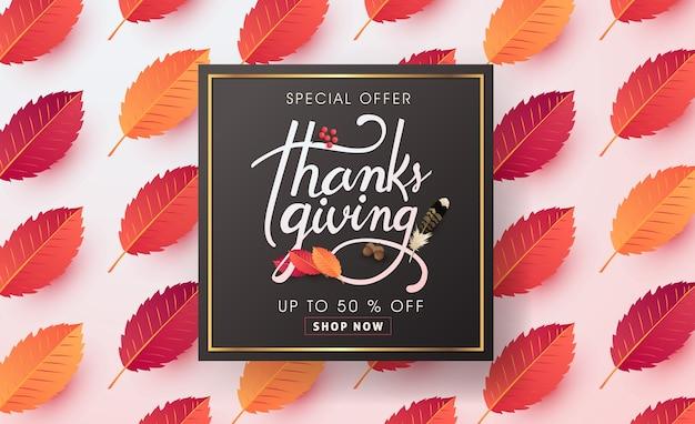 Kalligraphie von thanksgiving day sale banner. saisonale beschriftung.