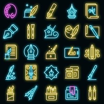 Kalligraphie-werkzeuge icons set. umrisse von kalligraphiewerkzeugen vektorsymbole neonfarbe auf schwarz