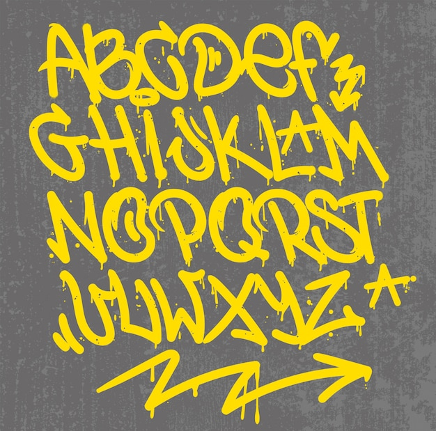 Kalligraphiedesign von alphabet graffiti-stil tag buchstaben schreiben marker pinsel tinte oder aerosol farbe spray. kostenloser wilder stil für wall city urban.
