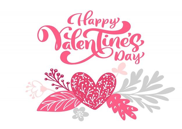 Kalligraphiephrase glücklicher valentinstag mit herzen