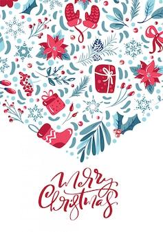 Kalligraphische beschriftung der frohen weihnachten handgeschriebener text. grußkarte
