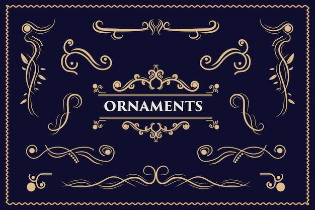 Kalligraphische designelemente vintage ornament wirbelt und rollt verzierte dekorationsdesignelemente