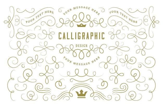 Kalligraphische designelemente vintage ornamente wirbelt und rollt verzierte dekorationselemente