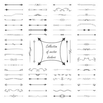 Kalligraphische gestaltungselemente. teiler, rahmen in verschiedenen formen