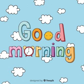 Kalligraphische gezeichneter hintergrund des gutenmorgens hand