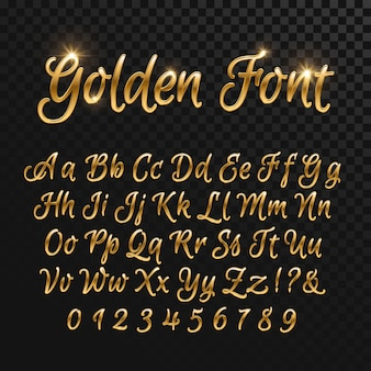 Kalligraphische goldene buchstaben. vintage elegante goldschrift. luxus-vektor-skript. goldenes alphabet kalligraphisch, kalligraphie-abc-gold-skriptillustration