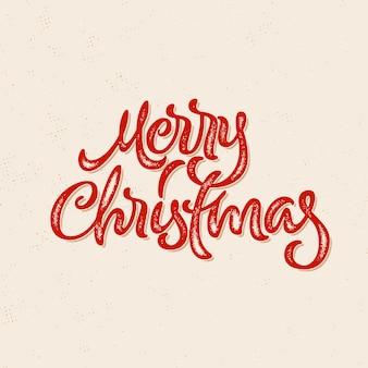 Kalligraphische hand gezeichnete beschriftungskarte der frohen weihnachten mit hippie-weinlesebriefbeschwerer-druckart für winterweihnachtsfeiertage