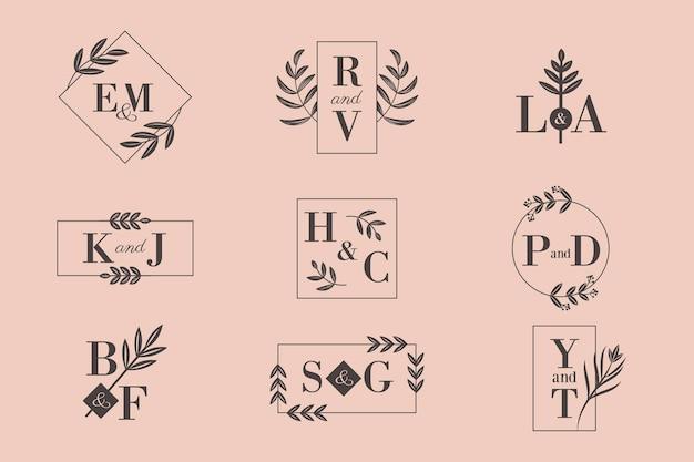 Kalligraphische hochzeitsmonogrammlogos