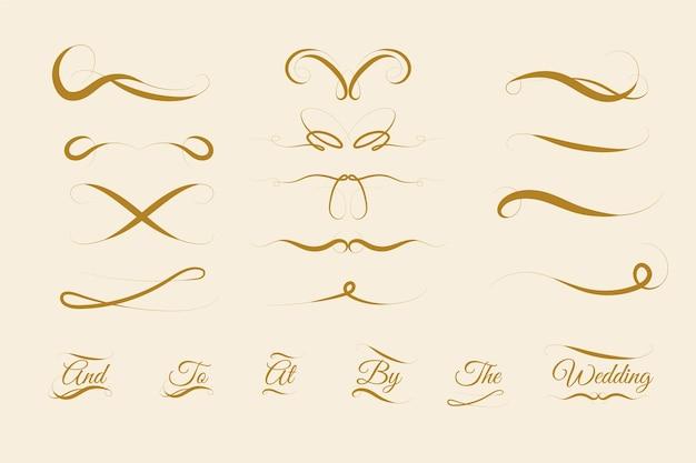 Kalligraphische hochzeitsverzierungssammlung