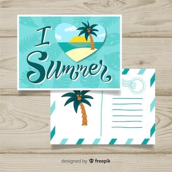 Kalligraphische postkarte der sommerferien