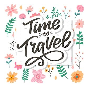 Kalligraphische schreibbeschriftung time to travel illustration