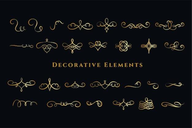 Kalligraphische strudel ornamente dekorationen großes set