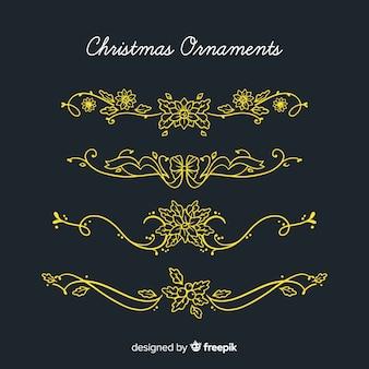 Kalligraphische weihnachtsblumendekorationssammlung
