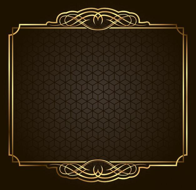 Kalligraphischer retro- vektorgoldrahmen auf dunklem hintergrund. premium-design-element