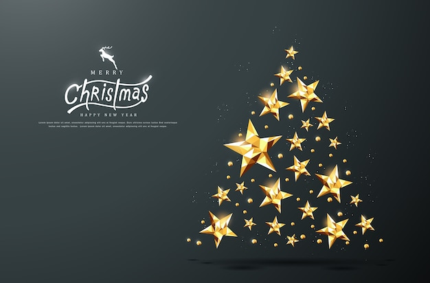 Kalligraphischer text der frohen weihnachten mit goldenem sternhintergrund.