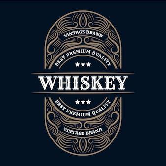 Kalligraphisches logo ornament vintage luxus grenze rahmen westlichen antiken etikett hand gezeichnete gravur retro für craft beer craft bier wein whisky getränk schnaps bar shop hotel & restaurant