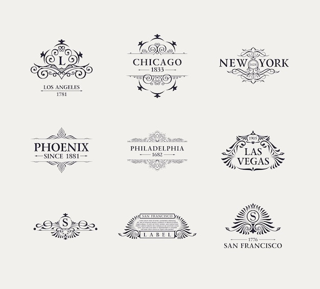 Kalligraphisches luxuslinien-logoset