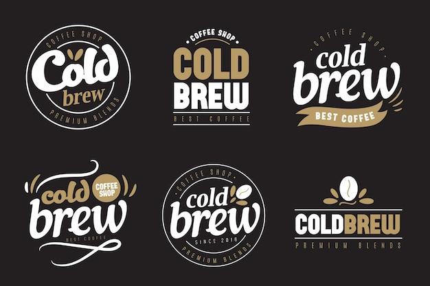 Kalt gebrühte kaffee-logos konzept