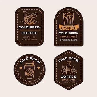 Kalt gebrühte kaffeeetiketten design