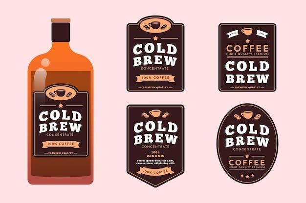 Kalt gebrühte kaffeeetiketten gesetzt
