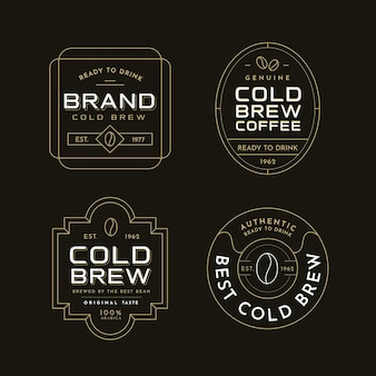 Kalt gebrühte kaffeeetiketten