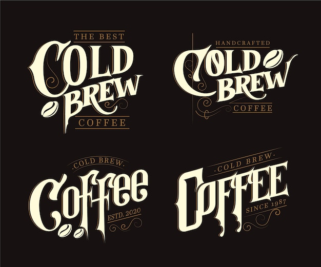 Kalt gebrühte kaffeelogos