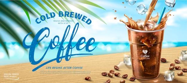 Kalt gebrühtes kaffeebanner