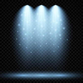 Kaltblaue beleuchtung mit drei strahlern. szenenbeleuchtungseffekte auf einem dunklen transparenten hintergrund. vektor-illustration