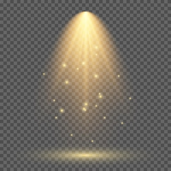 Kalte gelbe beleuchtung mit scheinwerfer. szenenbeleuchtungseffekte auf einem dunklen transparenten hintergrund. vektor-illustration