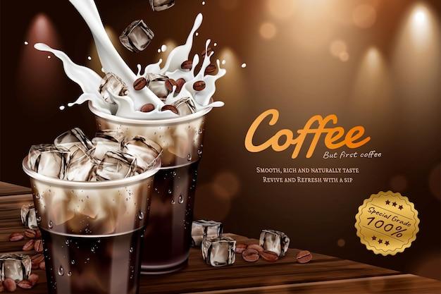 Kalte latte-werbung mit milch, die in 3d-darstellung in eine tasse zum mitnehmen gießt