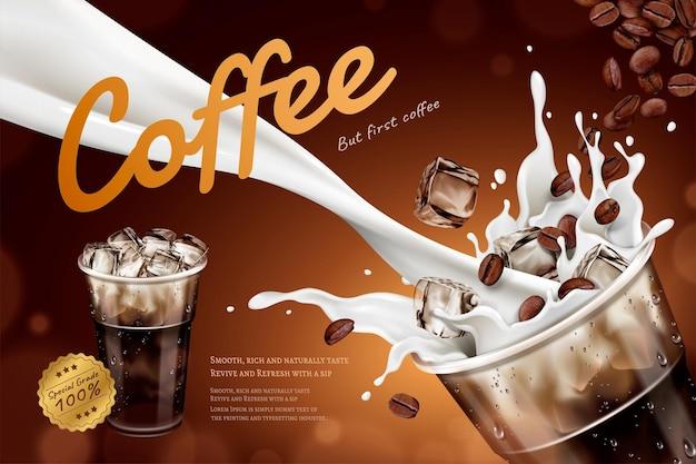 Kalte latte-werbung mit milch, die in eine tasse zum mitnehmen fließt, und fliegende kaffeebohnen in 3d-darstellung
