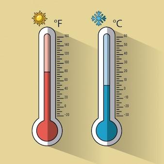 Kalte und heiße thermometer temperaturen