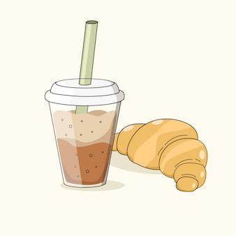 Kalter mokka-kaffee und croissant lokalisiert auf einem hellen hintergrund