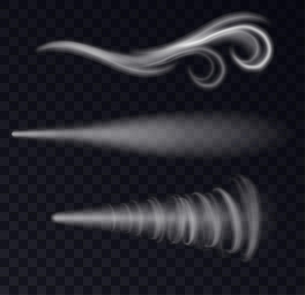 Kalter windschlag oder dampfende symbole in geschwungenen formen einzeln auf transparentem hintergrund. weißer rauch, sprühnebel oder gefrierende atemkurvenspuren. realistische vektorillustration